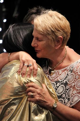 Anja hugging Adriana